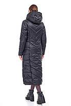 Черное сатиновое пальто одеяло Женское зимнее длинное непромокаемое на синтепухе размеры от 42 до 54, фото 3
