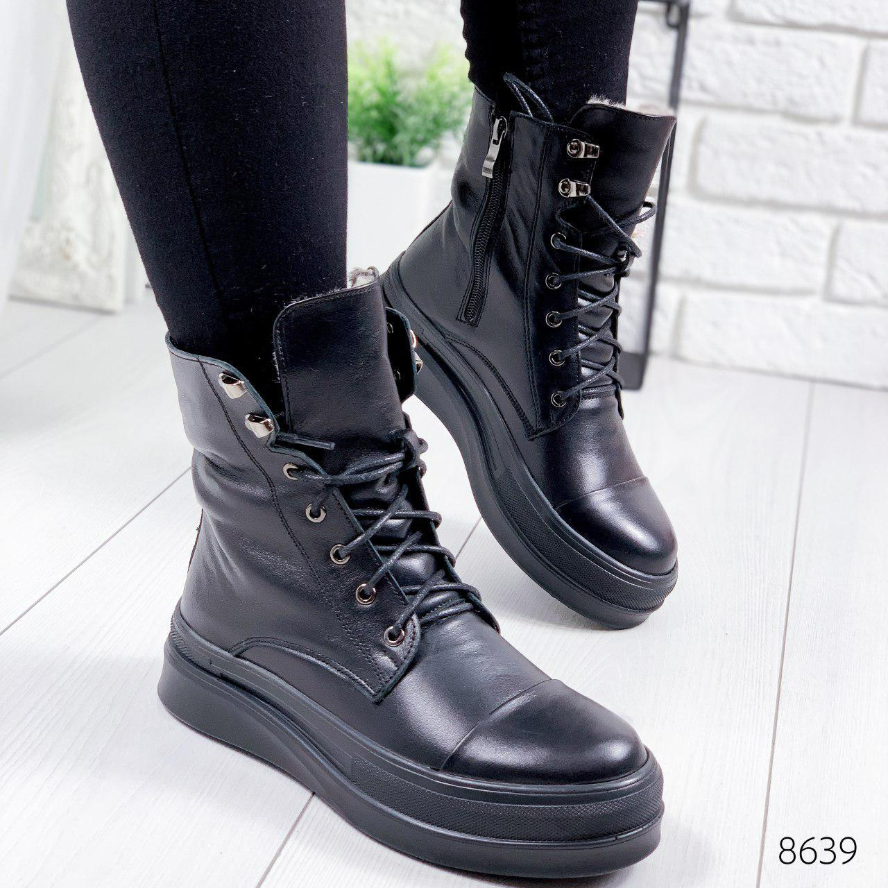 """Ботинки женские зимние """"Afo;o"""" черного цвета из натуральной кожи. Ботильоны женские. Ботинки зима"""