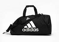 Спортивная сумка трансформер Adidas, черная с белым логотипом