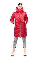 Модный красный сатиновый пуховик зима 2020 объемный кокон размер 42-48 очень теплый красивый