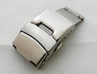 Застежка мужская к часам Hublot серебристая, двойной блокировки
