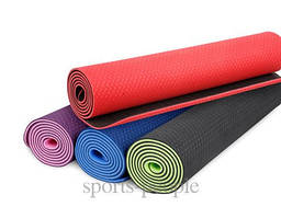 Коврик для йоги и фитнеса, ТРЕ, двухслойный, 183*61*0.6 см, разн. цвета