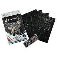 Розмальовка на чорному папері 4 аркуша A4, 6 маркерів 1 мм