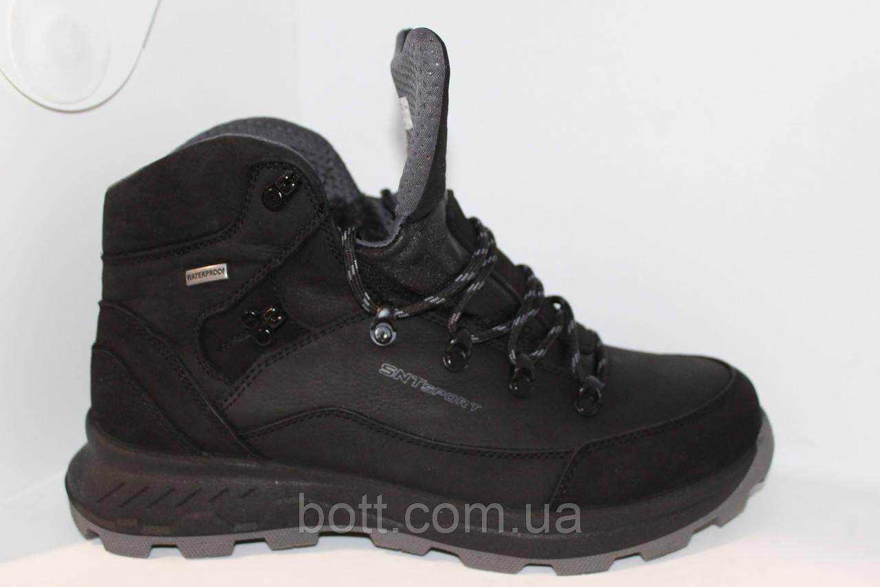 Спортивные черные кожаные зимние ботинки