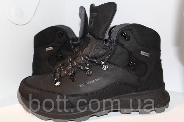 Спортивные черные кожаные зимние ботинки, фото 2