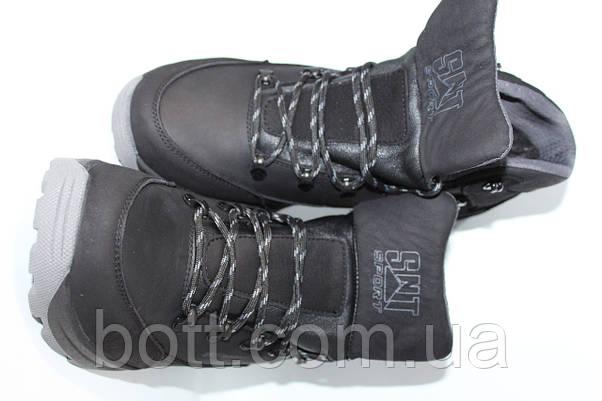 Спортивные черные кожаные зимние ботинки, фото 3