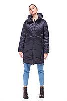 Стильный дутый пуховик черный сатиновый зима 2020 объемный кокон размер 42-48 очень теплый красивый