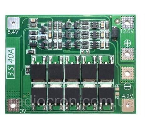 BMS 3S 40A 12,6 В Контролер заряду розряду Li-ion батарей
