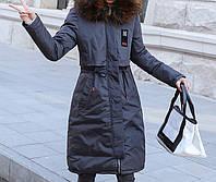 Теплое и стильное двустороннее женское зимнее пальто-парка серого цвета