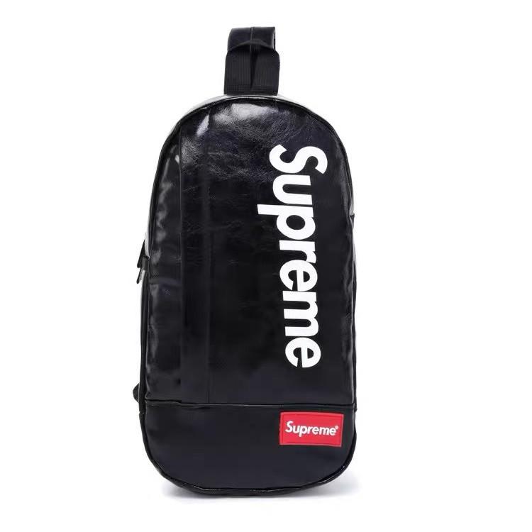 Нагрудная сумка SUPREME суприм кожаная сумка слинг через плечо черная