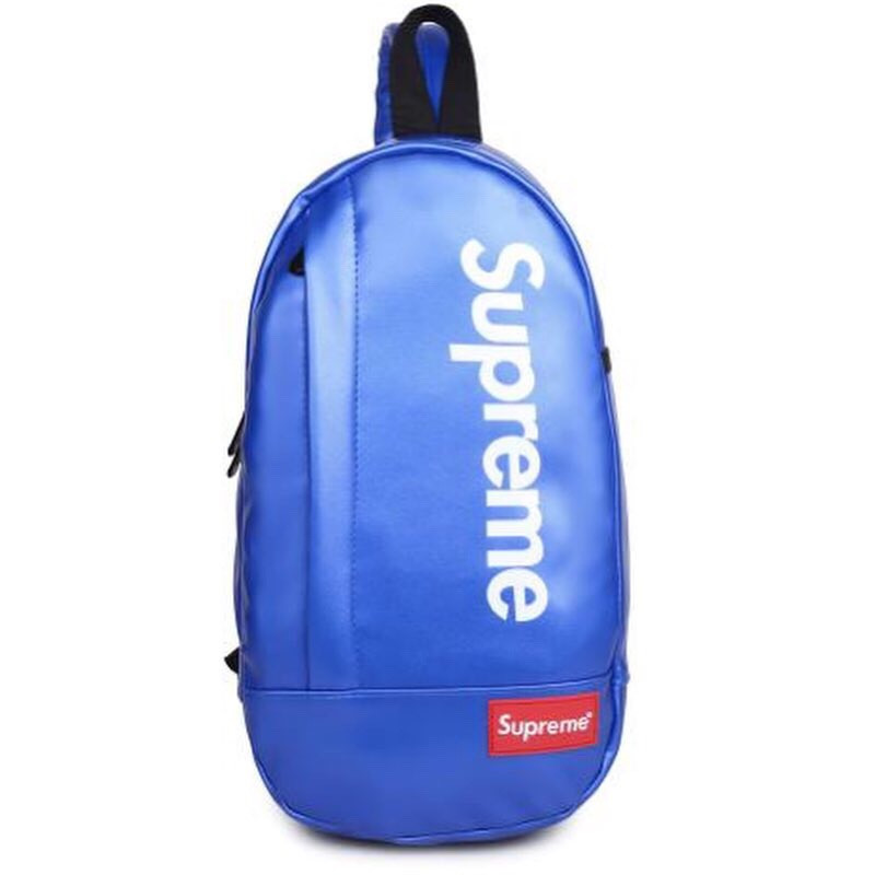 Мессенджер SUPREME суприм кожаная сумка слинг через плечо синяя