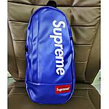 Мессенджер SUPREME суприм кожаная сумка слинг через плечо синяя, фото 2