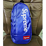 Нагрудная сумка SUPREME суприм кожаная сумка слинг через плечо синяя, фото 2