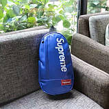 Мессенджер SUPREME суприм кожаная сумка слинг через плечо синяя, фото 3
