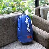 Нагрудная сумка SUPREME суприм кожаная сумка слинг через плечо синяя, фото 3