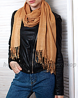 Шарф длинный кашемировый широкий палантин шаль кемел коричневый бежевый