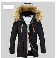 Куртка парка  мужская с  капюшоном  Черная, фото 1