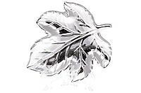 Декоративное керамическое блюдо Лист 15см, цвет - серебро