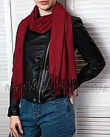 Шарф длинный кашемировый широкий бордовый палантин шаль