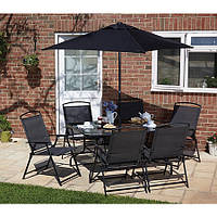 Набор садовой мебели George Home Miami 8 Piece Patio Set - Black & Charcoal
