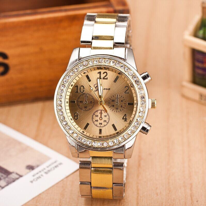 Женские часы Geneva Kors Style Gold под золото со стразами, Жіночий наручний годинник