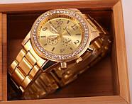 Женские часы Geneva Kors Style Gold под золото со стразами, Жіночий наручний годинник, фото 2