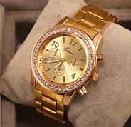 Женские часы Geneva Kors Style Gold под золото со стразами, Жіночий наручний годинник, фото 3