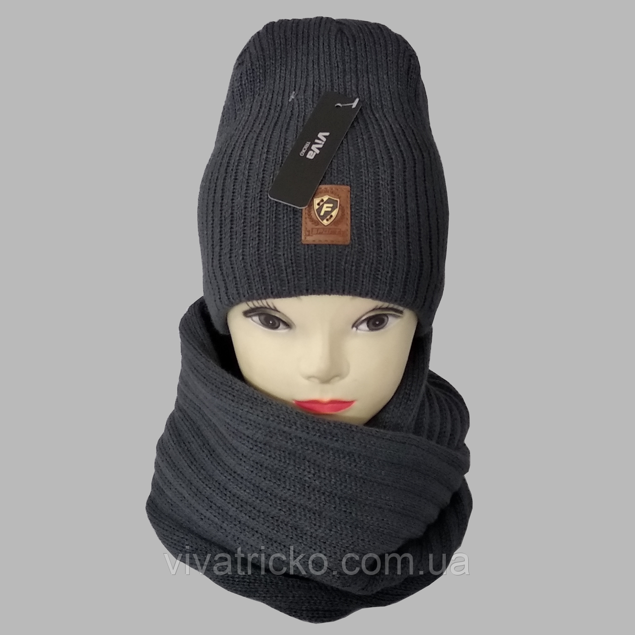 М 7053 Комплект шапка и хомут-восьмерка зимний, разные цвета