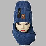 М 7053 Комплект шапка і хомут-вісімка зимовий, різні кольори, фото 3