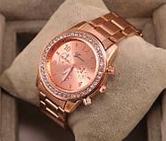 Женские часы Geneva Kors Style Rose Gold розовое золото со стразами, Жіночий наручний годинник, фото 3