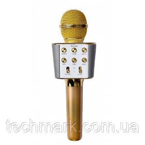 Микрофон-Караоке беспроводной динамический Bluetooth WSTER WS-1688 Gold Золотой