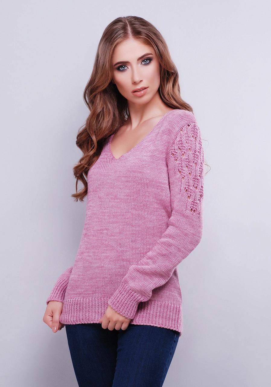Женский вязаный свитер с V-образным вырезом. Разные цвета Фиолетовый