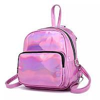 Рюкзак женский голографический маленький мини рюкзак блестящий голографик жіночий