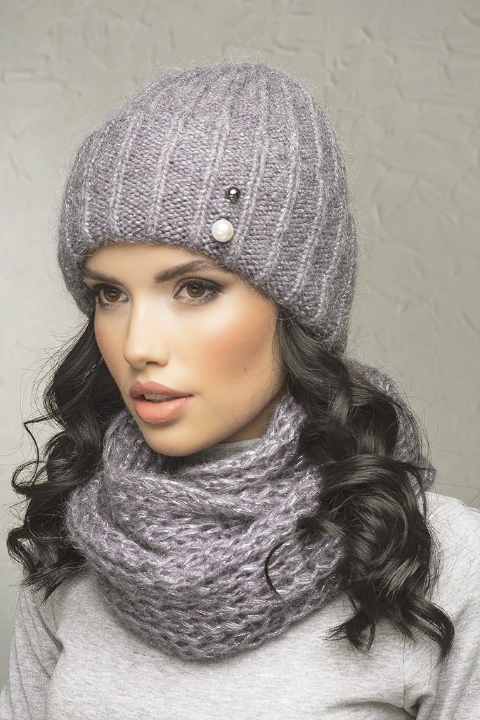 Комплект (шапка и снуд-хомут) Flirt Лика-Морган One Size светло-сиреневый