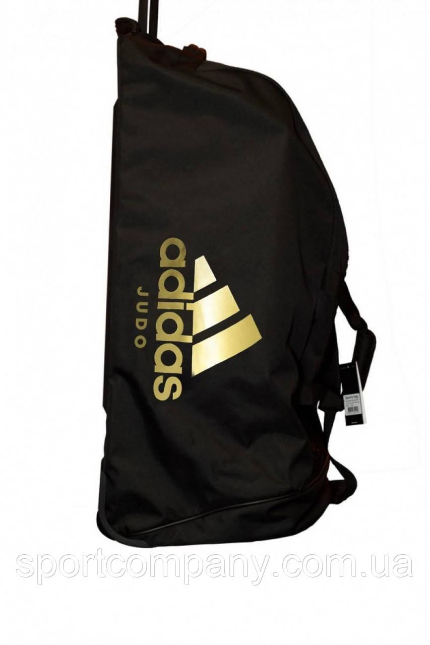 Сумка дорожная на колесах Adidas,черная с золотым логотипом Judo