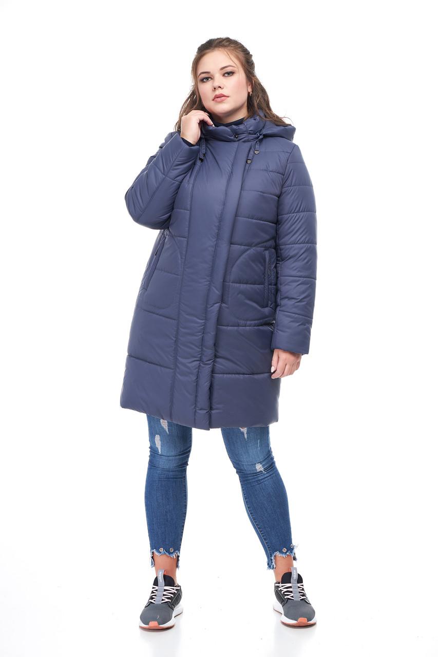 Женская зимняя куртка пуховик выше колена на морозы  52-64 большие размеры