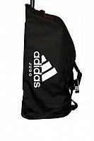 Сумка дорожная на колесах Adidas,черная с белым логотипом Judo