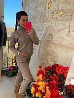 Коричневый вязаный женский костюм, фото 1