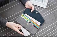 Стильный женский кошелек клатч серого цвета, Жіночий гаманець, фото 3