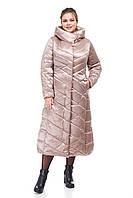 Женский пуховик длинный зима длинное непромокаемое на синтепухе сатин мокко бежевое размеры от 42 до 54