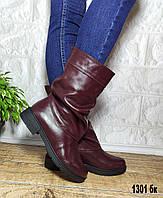 Бордовые кожаные зимние полусапожки на небольшом каблуке