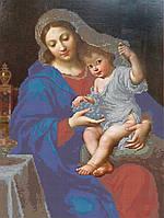 Схема для вышивки бисером Мадонна с младенцем и виноградом КМР 3214