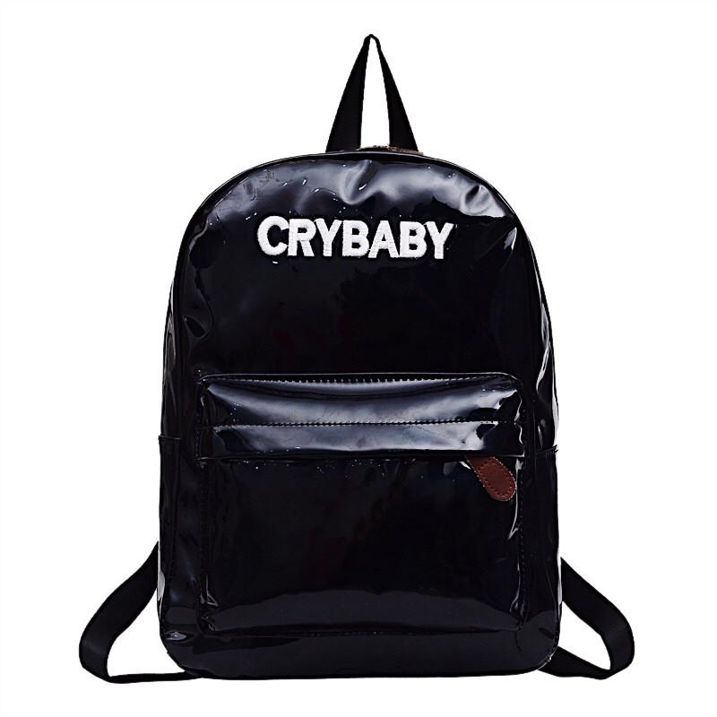 """Жіночий великий голографічний блискучий рюкзак """"CRYBABY"""" чорний 37х26х12 см"""