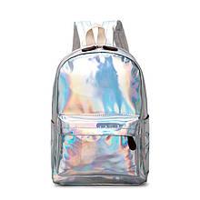 Женский большой голографический блестящий рюкзак SUNSHINE школьный портфель серебряный