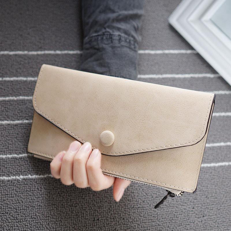 Стильный женский кошелек клатч кофейного цвета, Жіночий гаманець
