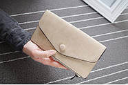 Стильный женский кошелек клатч кофейного цвета, Жіночий гаманець, фото 2