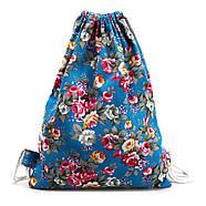 Женский рюкзак мешок голубой с цветами, фото 2
