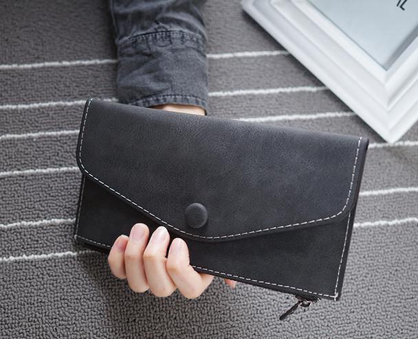 Стильный женский кошелек клатч черного цвета, Жіночий гаманець