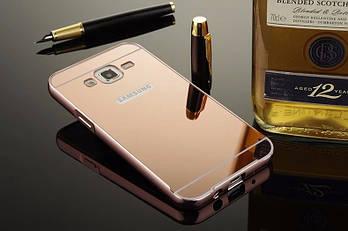 Чехол для Galaxy J5 2015 / Samsung J500 зеркальный розовый