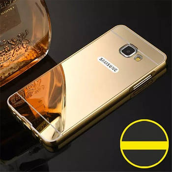 Чехол для Galaxy A3 2016 / Samsung A310 зеркальный золотистый